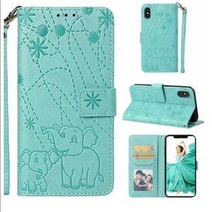 Green iPhone 6R wallet portfolio case